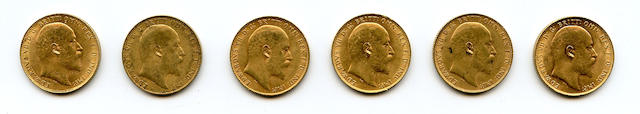Great Britain, Edward VII, Sovereigns, 1910 (6)