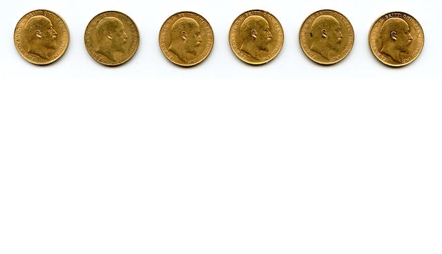 England, Edward VII, Sovereigns, 1910 (6)