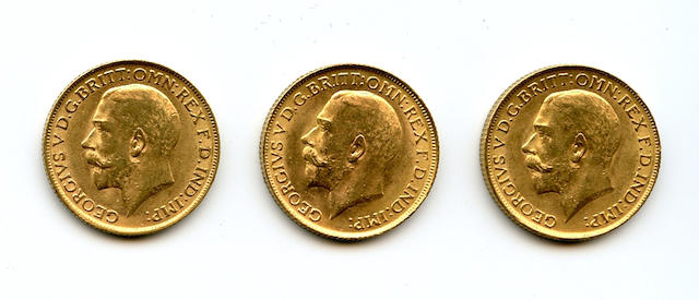 Great Britain, George V, Sovereigns, 1911 (3)