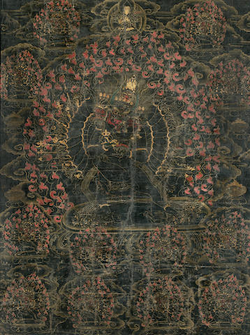 A Black-ground thangka of Vajrabhairava Tibet, 17th/18th century