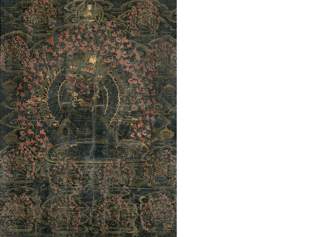 Black-ground Thanka of Mahakala, TIbet, 17th/18th Century