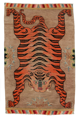 A tiger meditation rug Tibet, late 19th/early 20th century