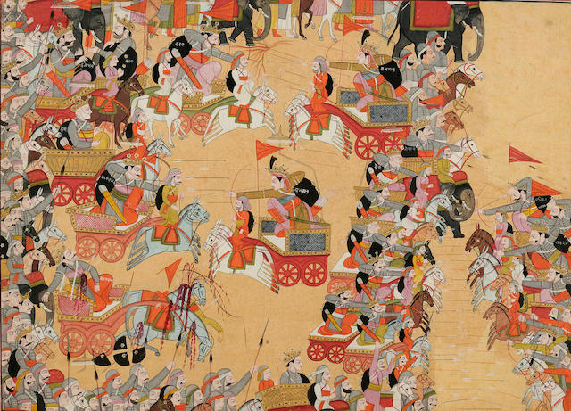 Battle Scene from the Mahabharata, Garhwal, c. 1800