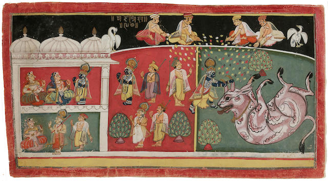 Illustrated to the Bhagavata Purana: Krishna destroys the bull demon Aristasura Mewar, early 19th century