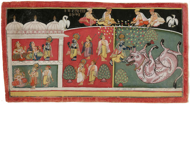 Illustration from a Bhagavata Purana Series, Malwa, Krishna wrestling bull horns