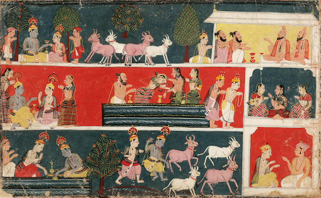 An ilustrattion to the Bhagavata Purana: Krishna and cowherds Malwa, circa 1640