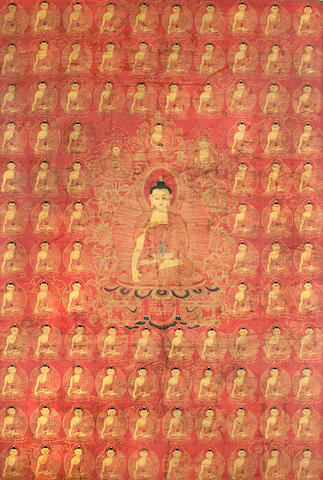 Red-ground Thanka of Buddha, TIbet, 17th Century