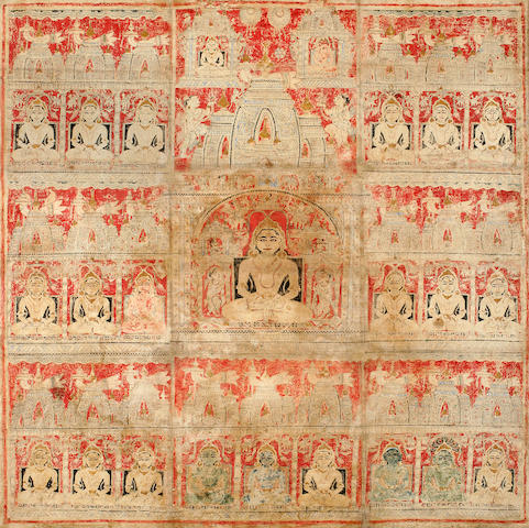Jain pata, mineral pigment on cloth, Gujarat, 16th/17th century