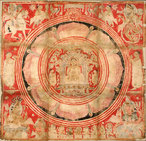 Jain pata mandala, mineral pigment on cloth, Gujarat, 16th/17th century