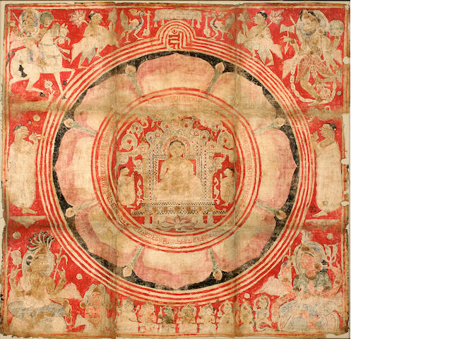 Jain pata mandala, mineral pigment on cloth, Gujarat, 16th/17th century