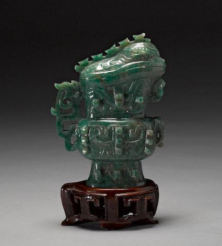 A Chinese jadeite miniature vessel