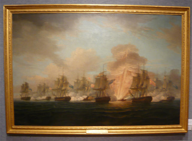 Nicholas Pocock (British, 1740-1821) The Battle of Cape Santa Maria<BR /> 36-1/2 x 55 in. (92.7 x 139.7 cm.)