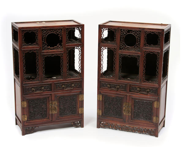 A pair of Chinese hardwood miniature display cabinets