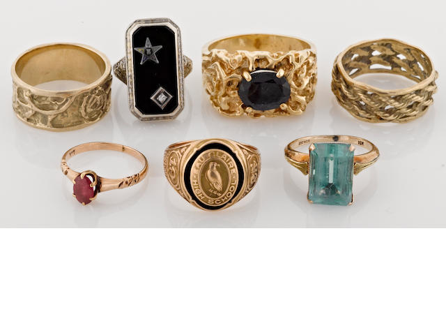a collection of seven gem-set 14k and 10k gold rings