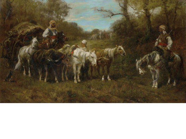 Adolf Schreyer (German, 1828-1899) A halted caravan