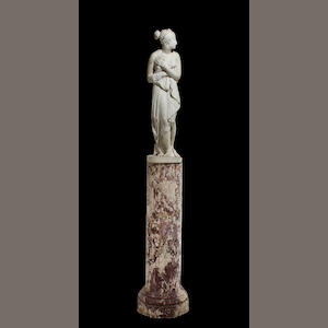 A composition sculpture of Venus Pudicae on a faux marble base 20th century (damage and losses) height 49 1/2in; total height 107in