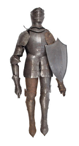 A suit of engraved armor height 71in