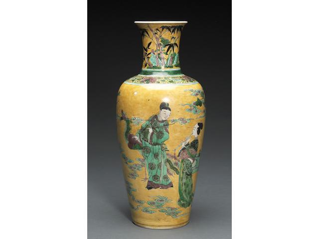 A famille jaune enameled porcelain baluster vase 19th century