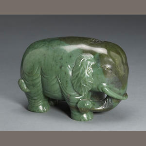 A spinach jade study of an elephant 20th century