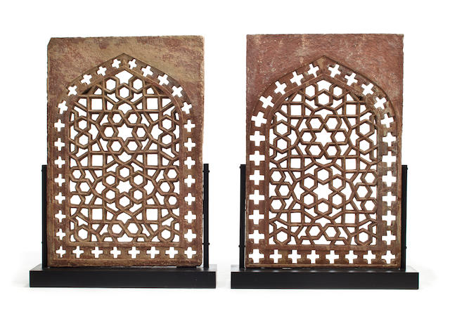 A pair of sandstone jali screens Mughal, 18th century