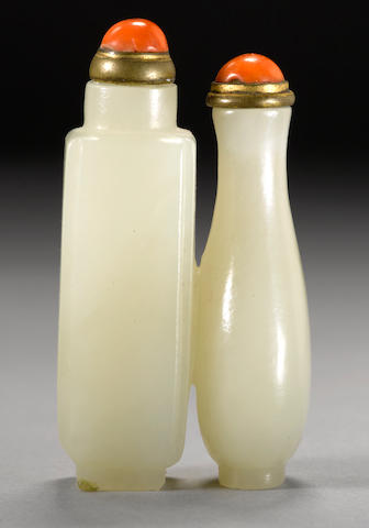 A white jade double snuff bottle