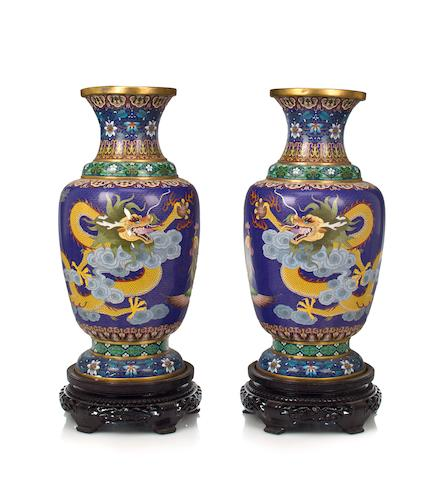 A pair of Chinese cloisonné vases with phoenix decoration 20th century height circa 30in