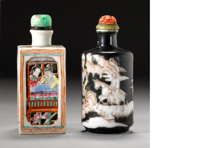 Two porcelain snuff bottles