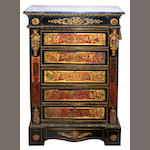 A Régence style gilt metal mounted Boulle marquetry and ebonized commode