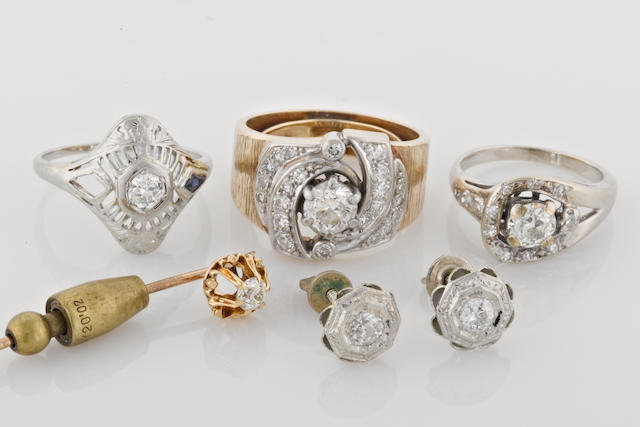 a group of 5 diamond and gold jewelry items, includingi stickpin, 1 earring, and 3 rings, (4 in 14k, 1 in 18k)