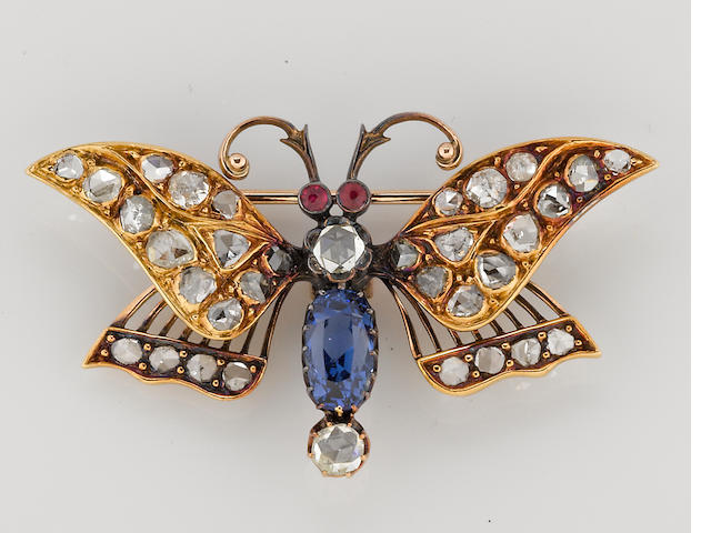 a rose cut diamond, gem-set and glass butterfly pin in 14k gold, 13 gr.