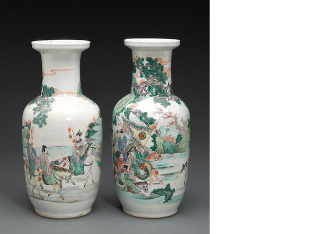 A pair of famille verte glazed porcelain vases  19th century