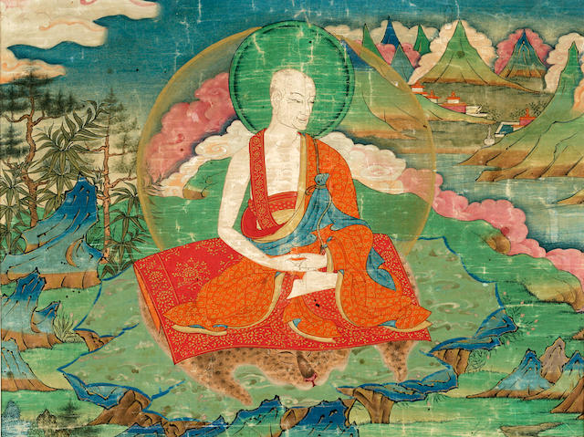 A thanka Fragment of Kanakabharadvaja Tibet, 16th/17th century