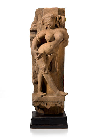 Relief of goddess, buff sandstone, Central India 10th/11th century