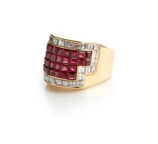 A ruby, diamond and 18k gold ring