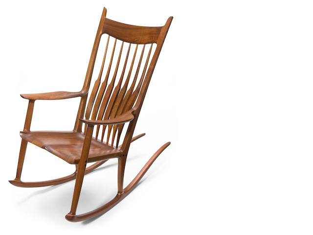 A Sam Maloof walnut and ebony rocking chair