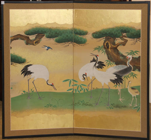 Kano school style (20th century)<BR />Cranes and Pines