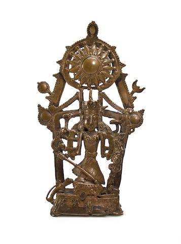An Indian bronze figure of the goddess Durga (Mahishmardini)