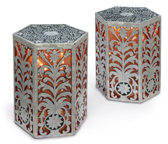 A pair of Indian mother of pearl stools with gold and electical illumination