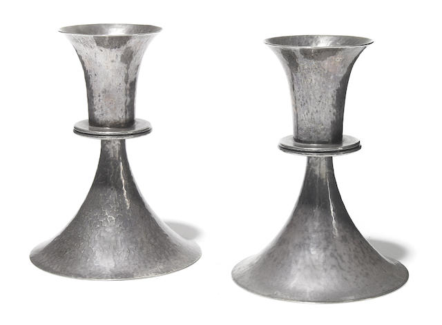 19978 Pair of Vienna Austria plated candlesticks with mark of Josef Hoffmann, Weiner Werkstatte, Made in Austria