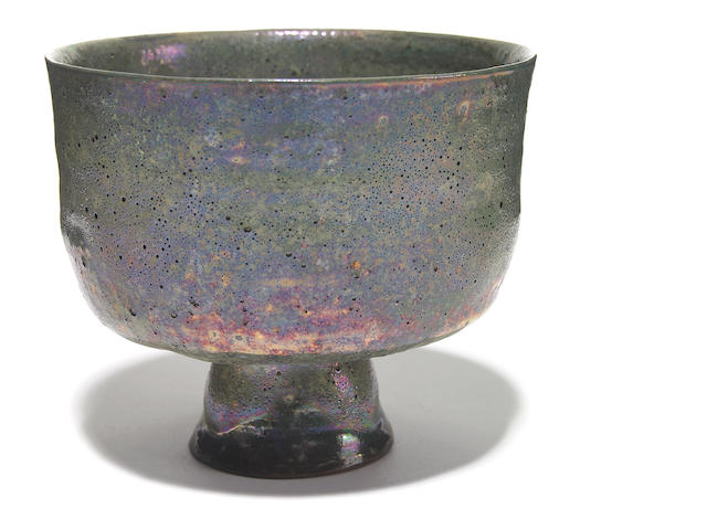 A Beatrice Wood green-lustre glazed pottery footed bowl