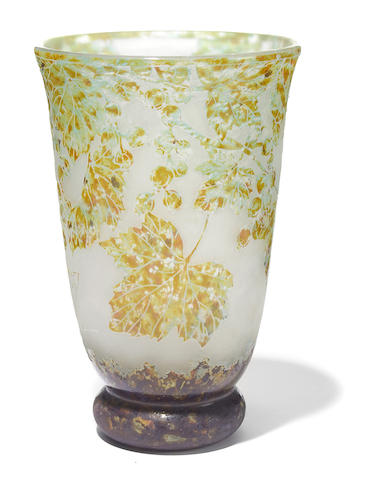 A Daum Nancy vitrified cameo glass foliate vase circa 1910