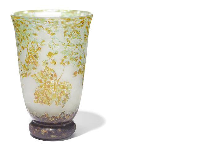 A Daum Nancy vitrified glass vase