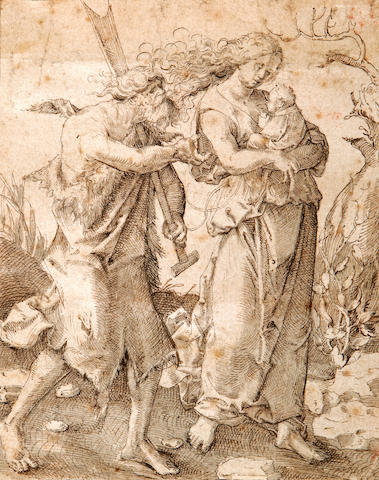 German School, 16th Century Rest on the flight to Egypt 5 1/2 x 4 1/4in (14 x 10.8cm)