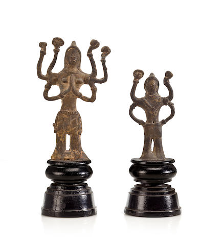 Two folk hero figures Bronze Lao 12th century