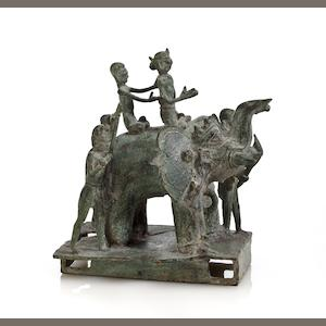 Elephant processional group Bronze Majapahit, Thailand 16th century