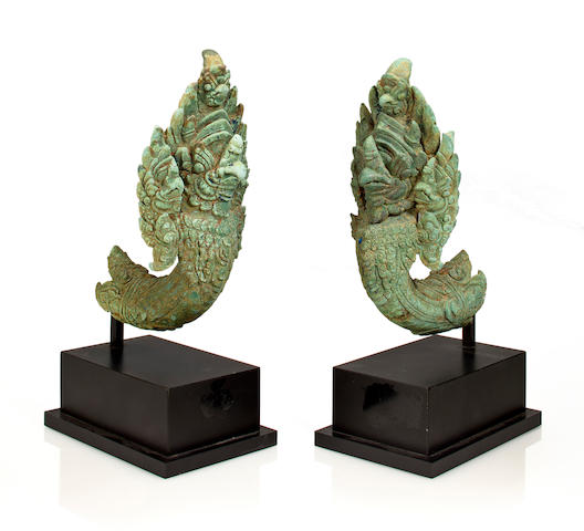 Pair of Khmer Bronze Garuda Finials, Cambodia, 12th/13th Century