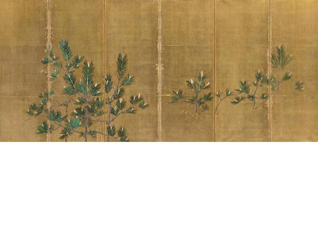 Anonymous (20th Century) Pine seedlings six panel screen