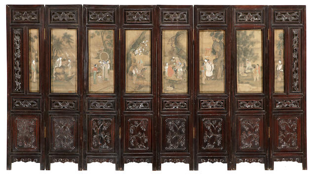 A Chinese eight panel screen with inset pantings under glass