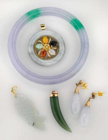 A collection of multi-color jadeite jade, nephrite and 14k gold jewelry