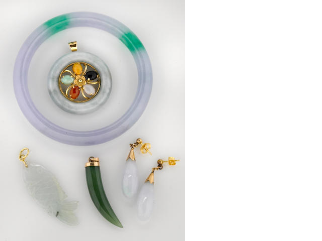 A collection of multi-color jadite jade, nephrite and 14k gold jewelry